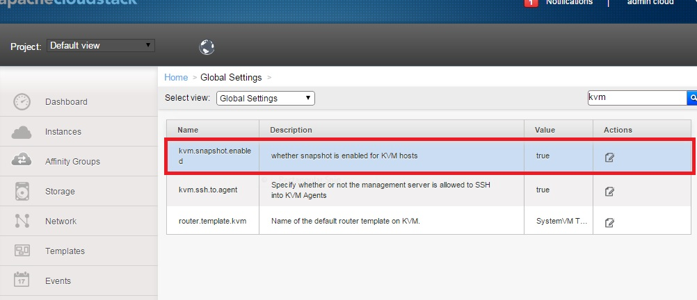 Enable Snapshot with KVM on CloudStack